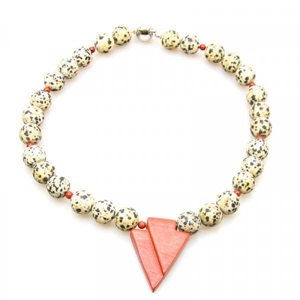 Edelsteinkette aus Dalmatinerstein und rotem Jaspis