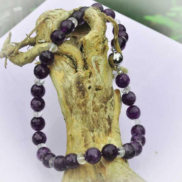 Edelstein Halskette aus Amethyst und Bergkristall mit Magnetverschluss