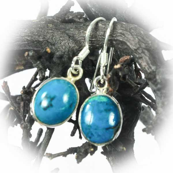 Chrysokoll Ohrringe aus Silber
