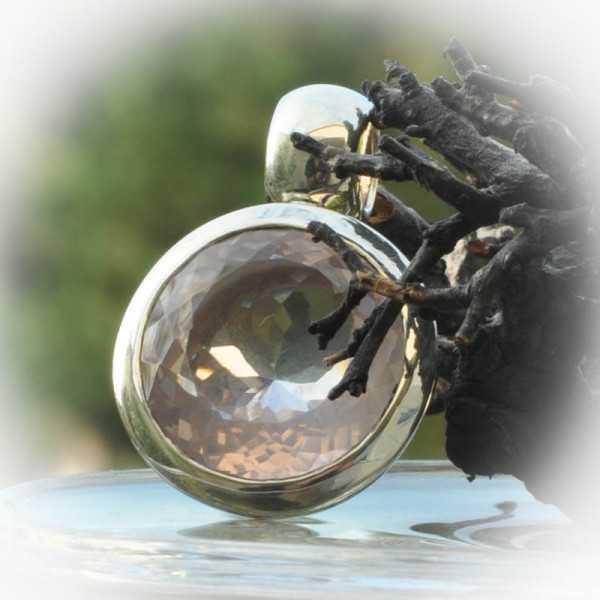 Rosenquarz Anhänger in Silber